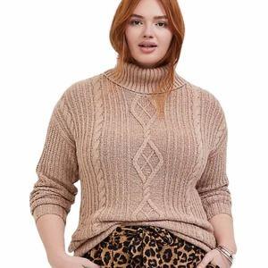 Torrid tan turtleneck knit fisherman sweater